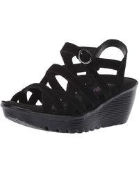 Skechers Parallel-three Strap Buckle Slingback Wedge Sandal - Black