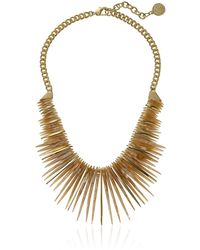 Vince Camuto Resin Horn Drama Gold/natural Pendant Necklace - Metallic