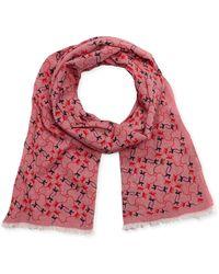 Kipling Cotton Animal Print Scarf - Pink