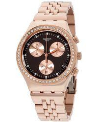Swatch Erwachsene Chronograph Quarz Uhr mit Edelstahl Armband YCG414G - Mehrfarbig