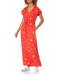 Goodthreads Georgette Ruffle-Sleeve Maxi Dress Dresses - Rosso