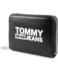 Tommy Hilfiger Portefeuille Small Zip Around Wallet Texture Black - Noir