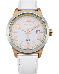 French Connection Quartz Watch With Silver Dial Analogue Display And White Leather Strap Fc1098wg - Metallic