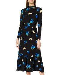 Dorothy Perkins Black Floral Tiered Shirred Neck Midaxi Dress Casual