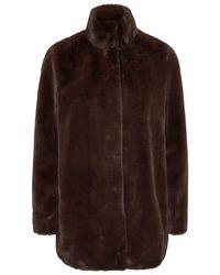 Vero Moda Vmthea 3/4 Faux Fur Jacket Col Coat - Brown