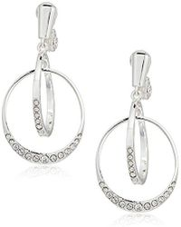 Anne Klein - Silver Tone 2 Ring Pave Clip-on Earrings - Lyst