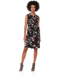 Calvin Klein Sleeveless Collared Sheath With Self Belt Dress - Black