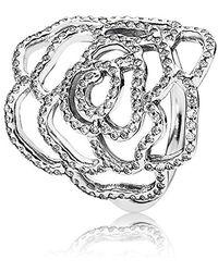 PANDORA Ring Wildrose 925 Silber Zirkonia weiß - Mettallic