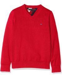 Tommy Hilfiger Essential V-Neck Sweater Sudadera - Rojo