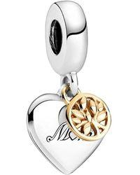 PANDORA , Colgante de árbol genealógico y corazón bicolor, plata de ley y oro de 14 quilates, 899366C00 - Metálico