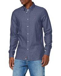 Tommy Hilfiger Slim Arrow Dobby Shirt Camisa, - Azul