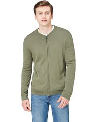 FIND Cotton Cardigan Sweater In Bomber Jacket Style - Green