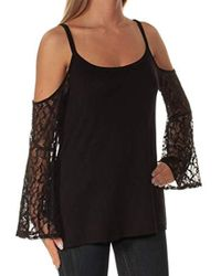 Kensie - French Terry Cold Shoulder Sweatshirt With Lace Sleeves - Lyst