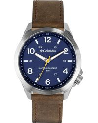 Columbia Stainless Steel Japanese Quartz Leather Strap - Brown
