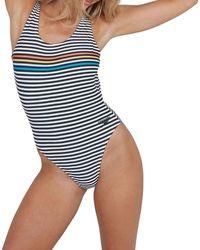 Speedo Placement Deep U Back High Leg Swimming Costume/swimsuit - Blue