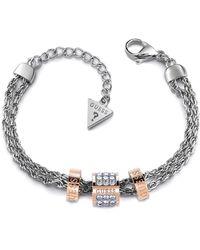 Guess Bracelet Devinez noeud d'amour cylindre en acier inoxydable chirurgical plaqué or rose UBB78060-S [AC1121] - Métallisé