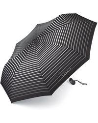 Esprit Regenschirm Taschenschirm Easymatic light Auf-Zu Automatik Degradee black & white - Schwarz