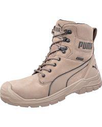 PUMA Conquest Stone High S3 Side Zip Fiberglass Safety Toe Scuff Cap Work Boots - Multicolour