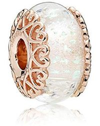 PANDORA - Gold Plated Round Clear Glass - Lyst