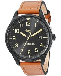 Lacoste Black Pvd/ip Quartz Watch With Leather Strap - Brown