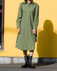 The Drop - Olive Belted Long-line Shacket By @imma.gram - Lyst