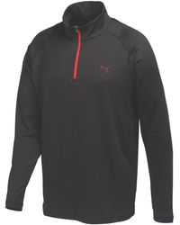 PUMA Solid 1/4 Zip Popover Shirt - Black