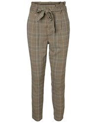Vero Moda VMEVA HR Paperbag Lin Check Pant Noos Pantaloni - Grigio