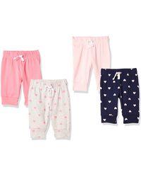 Amazon Essentials Pack de 4 pantalones con cintura elástica para niña - Rosa