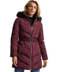 Dorothy Perkins Long Luxe Padded Jacket Jacke - Lila