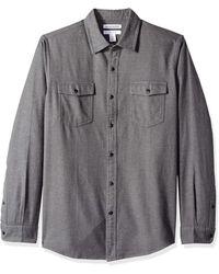 Amazon Essentials Regular-Fit Long-Sleeve Solid Flannel Shirt Button-Down-Shirts - Grigio