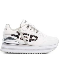 Replay - Camo Logo Lace Up Leather Sneakers White in Size 40 - Lyst
