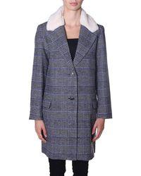 Levi's Manteau Long à Carreaux Amaya Coat Gris