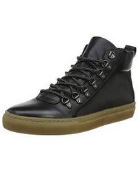 Dune Snowdon, Sneaker a Collo Alto Uomo, Nero Black-Leather, 46 EU