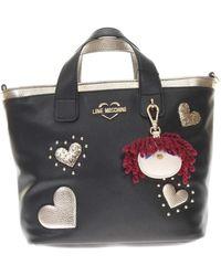Love Moschino Shopping Con Applicazioni E Tracolla - Nero