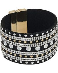 Guess - S Wide Faux Leather Studded Cuff With Rhinestone Accents Bracelet - Lyst