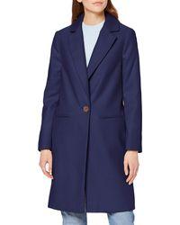 Miss Selfridge Navy Crombie Wool Blend Coat - Blue