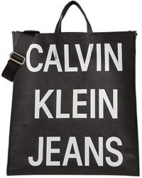 Calvin Klein Coated Logo Shopper Tote - Noir