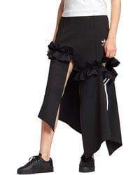 adidas Originals X J Koo Trefoil Ruffle 3-stripes Skirt - Black
