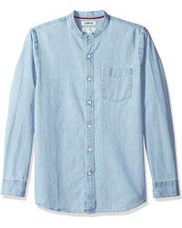 Goodthreads Marca Amazon – – Camisa vaquera con cuello en banda de manga larga y corte entallado para - Azul