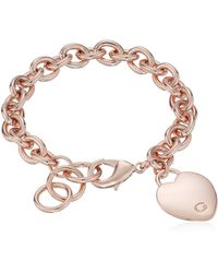"Guess ""basic"" Rose Gold G Logo Heart Link Bracelet - Metallic"