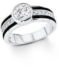S.oliver S. Oliver -Ring 925 Silber Emaille Zirkonia weiß Gr. 52
