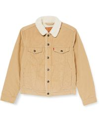 Levi's True Chino Cord Better Type 3 Sherpa Trucker Jacket - Natural