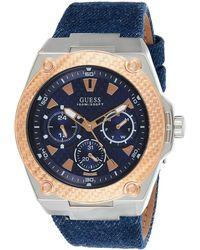 Guess Legency 45mm Blue Leather Band Steel Case Quartz Watch W1058G1