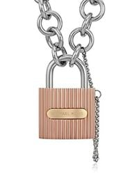 Michael Kors - Tri Tone Ridged Padlock Link Statement Locket Necklace - Lyst