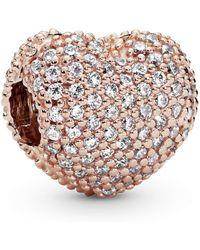PANDORA Clip Pavé-Herz in 14 Karat rosévergoldeter Metalllegierung mit Cubic Zirkonia aus der Moments Collection - Pink