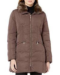 Anne Klein Down Puffer Coat - Brown