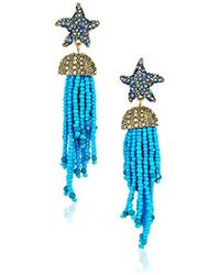 Betsey Johnson - S Blue Starfish And Tassel Drop Earrings - Lyst