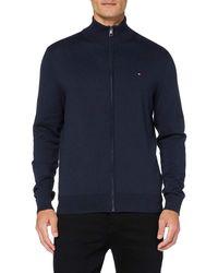 Tommy Hilfiger Organic Cotton Silk Zip Through Sweatshirt - Blue
