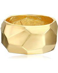 Kenneth Jay Lane - Polished Gold Geometric Shape Hinged Bangle Bracelet - Lyst