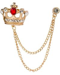 HIKARO Amazon Brand Golden Crown With Red Stone And Hanging Chain Brooch Golden - Metallic
